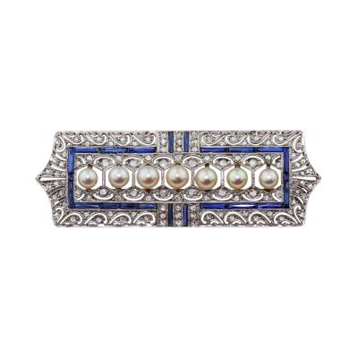Antique Art Deco White Gold Diamond Sapphire Pearl Brooch
