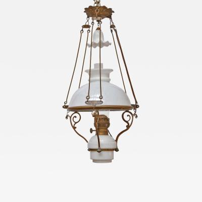 Antique Art Nouveau French Milk Glass and Brass Hall Lantern