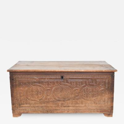 Antique Artisan Carved Wood Blanket Chest Storage Travel Trunk Intricate Relief