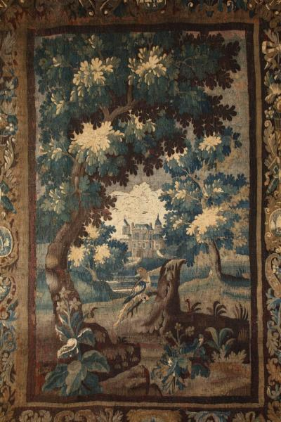 Antique Aubusson Verdure Landscape Tapestry