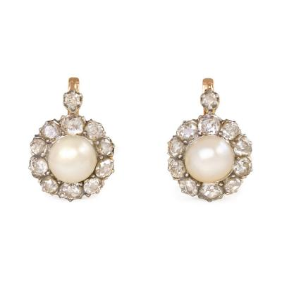 Antique Austro Hungarian Diamond and Natural Pearl Cluster Earrings