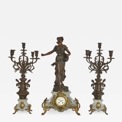 Antique Belle poque Sculptural Three Piece Clock Set after Auguste Moreau