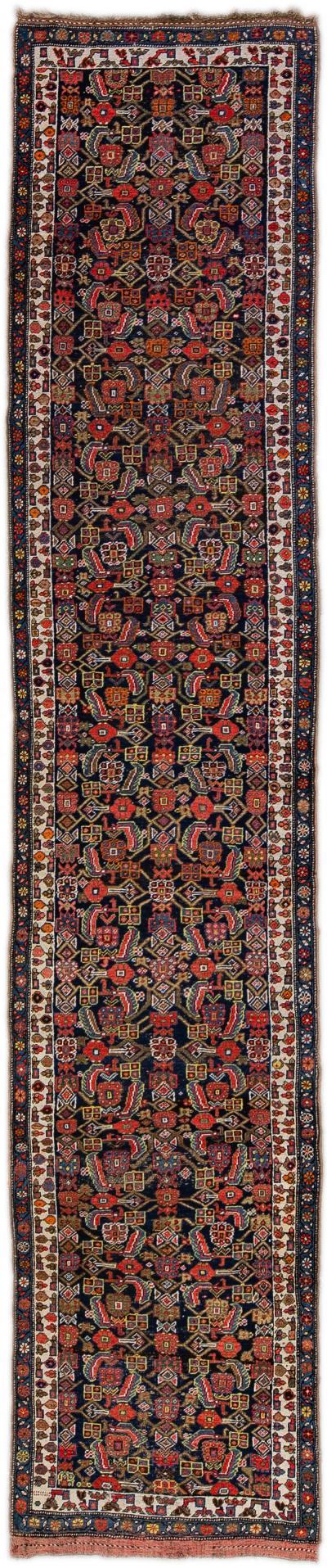 Antique Bidjar Handmade All Over Designed Blue Wool Runner