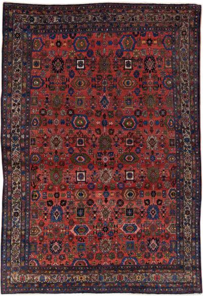 Antique Bidjar Handmade Red Designed Wool Rug