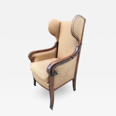 antique biedermeier reclining wingback chair