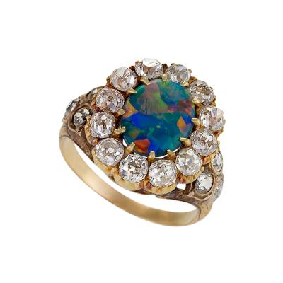 Antique Black Opal Diamond and Gold Cluster Ring