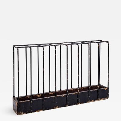 Antique Black Painted Iron Umbrella Stand