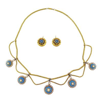 Antique Blue Enamel Pearl Gold Set
