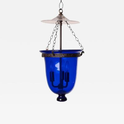 Antique Blue Glass Bell Jar Lantern with Clear Cover circa 1860