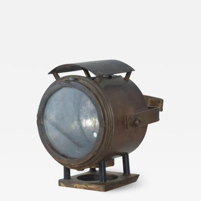 Antique Brass Bike Motorcycle Light Lamp Lantern circa 1940s