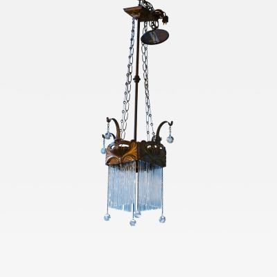 Antique Brass and Glass Art Nouveau Chandelier from France