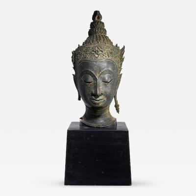 Antique Bronze Buddha Head on Stand from Thailand