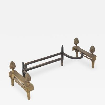 Antique Bronze Fireplace Andirons by Bouhon Fres 19th Century