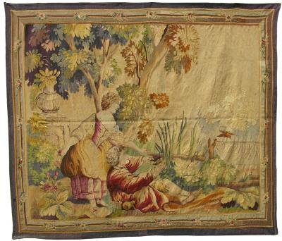 Antique Brussels Tapestry Pillow 17th Century