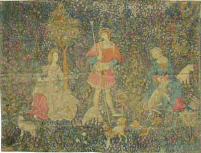 Antique Brussels Tapestry retrieved from the story of Jungle of Flowers