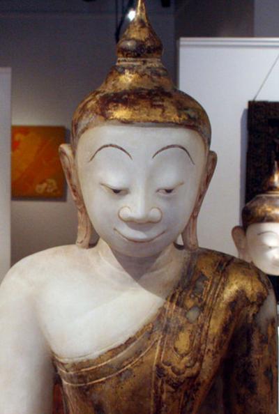 Antique Burmese White Marble Buddha Statue