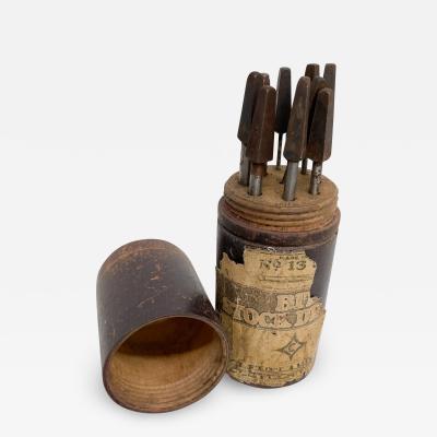 Antique CLEVELAND Twist Drill CO 13 Set Bit Stock Metal Tools Wood Case 1910