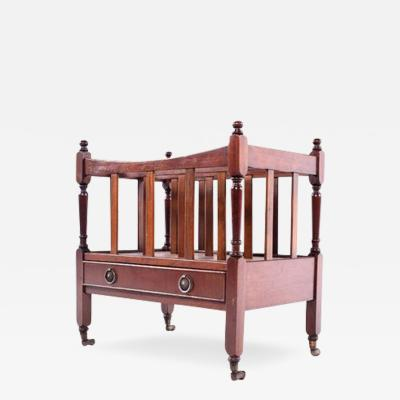 Antique Canterbury Mahogany Magazine Rack