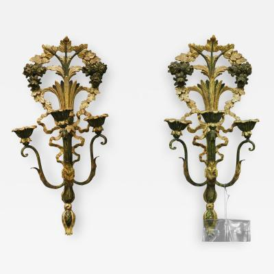 Antique Carved French Giltwood Appliques Sconces