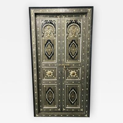 Antique Carved Moroccan Door With Camel Bone and Brass