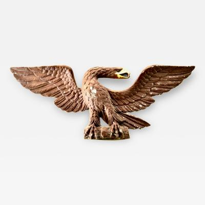 Antique Cast Metal Federal Wall Eagle With Original Paint 31