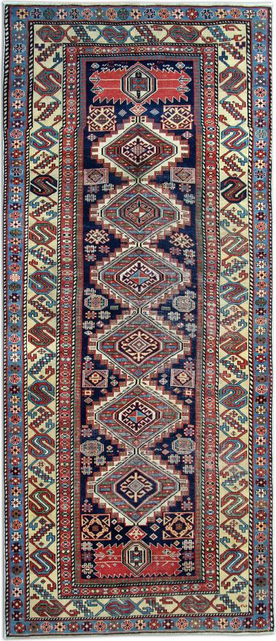 Antique Caucasian Kazak Rug Azerbaijan 268x113cm