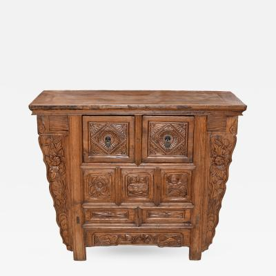 Antique Chest with Secret Drawers and Flower Carvings