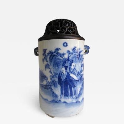 Antique Chinese Blue and White Censor with Lid