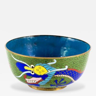 Antique Chinese Cloisonn Dragon Bowl