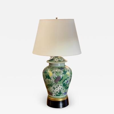 Antique Chinese Famille Verde Chinoiserie Porcelain Lamp With Custom Shade