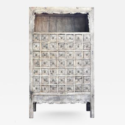 Antique Chinese White Apothecary Cabinet