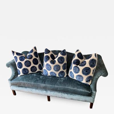 Antique Chippendale Camelback Blue Silk Velvet Sofa
