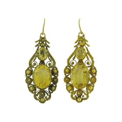 Antique Citrine and Cannetille Pendant Earrings