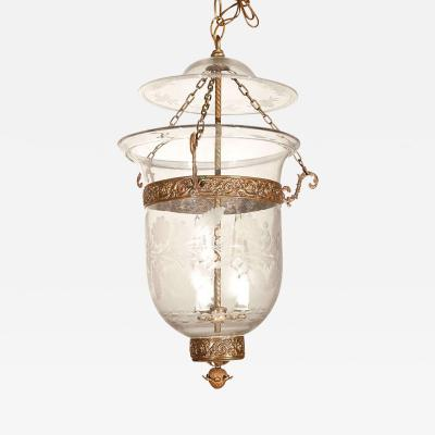 Antique Clear Glass Bell Jar Hall Lantern