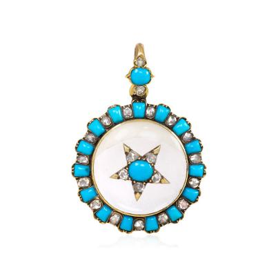 Antique Crystal Turquoise and Diamond Pendant Locket with Star Motif