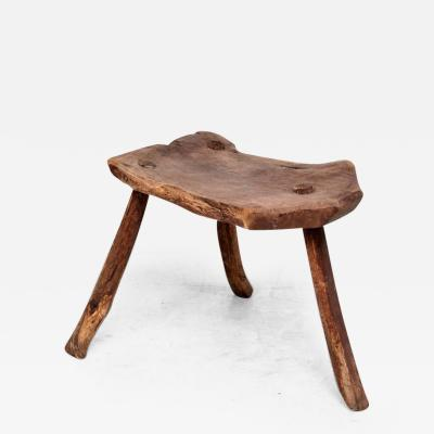 Antique Decorative Wood Tripod Stool