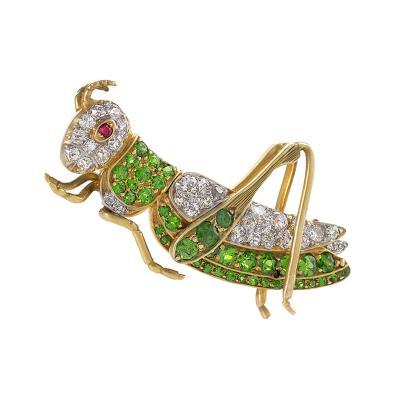 Antique Demantoid Garnet Diamond Gold and Platinum Cricket Brooch