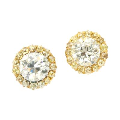 Antique Diamond Cluster Earrings with Natural Yellow Diamonds