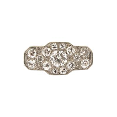 Antique Diamond Cluster Platinum Ring