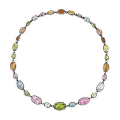 Antique Diamond Colored Stone and Gold Topped Silver Necklace