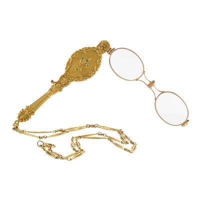 Antique Diamond Demantoid Garnet and Gold Lorgnette