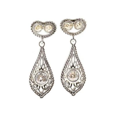 Antique Diamond Open Work Platinum Earrings