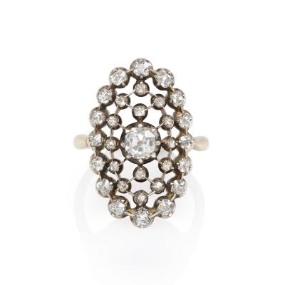 Antique Diamond Ring of Latticework Design