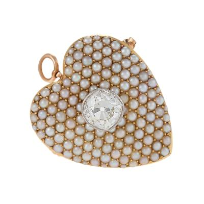 Antique Diamond Seed Pearl and Gold Heart Pendant Brooch