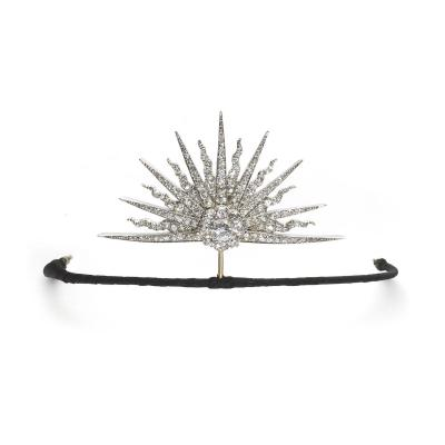 Antique Diamond Silver Gold Sunburst Tiara