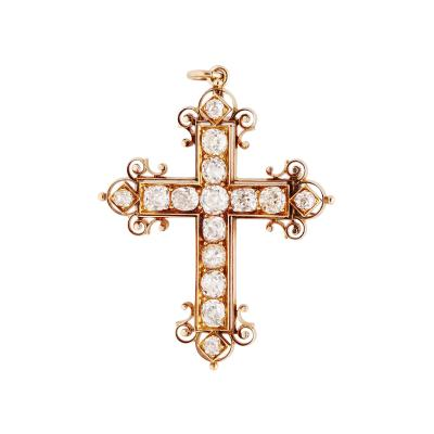 Antique Diamond and Gold Cross Pendant