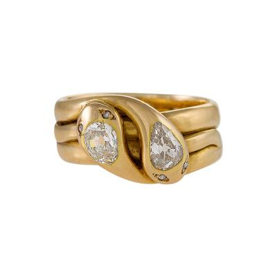 Antique Diamond and Gold Double Serpent Ring