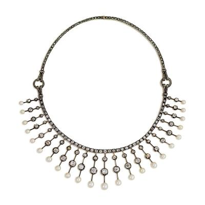 Antique Diamond and Natural Pearl Fringe Necklace
