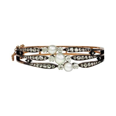Antique Diamond and Pearl Bangle in Silver Topped Gold