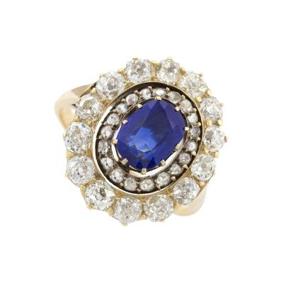 Antique Diamond and Sapphire Cluster Ring